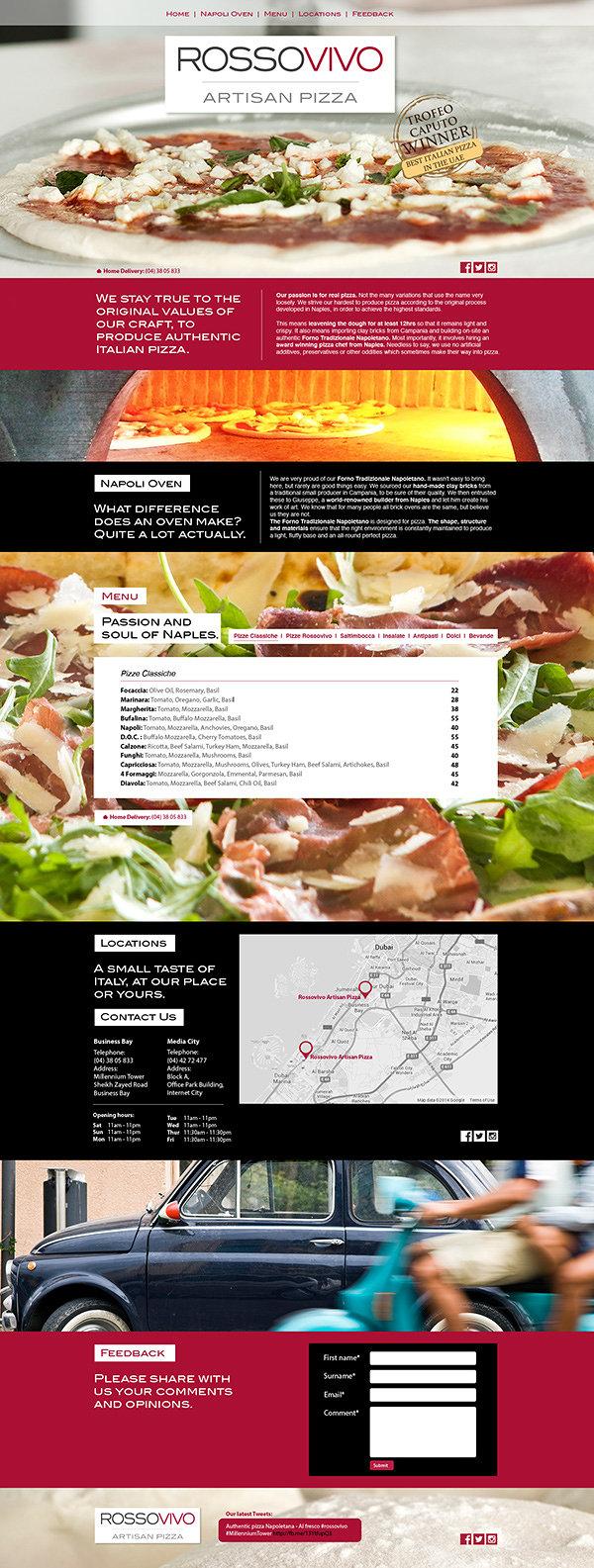 Rossovivo Artisan Pizza website