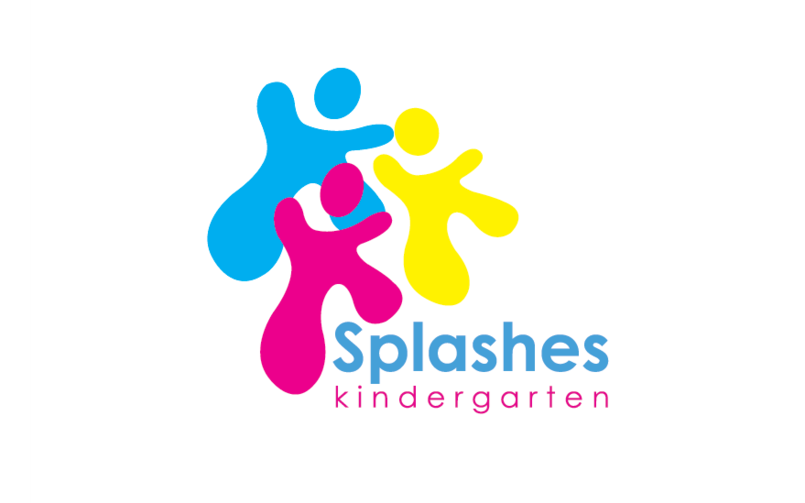 """A logo for """" splashes"""" kindergarten built in form of paint splashes, represented in 3 process colors CMY."""
