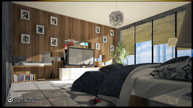 غرفة نوم وغرفة معيشة
