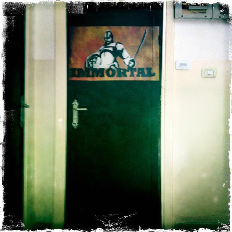 Immortal Entertainment entrance - stencil