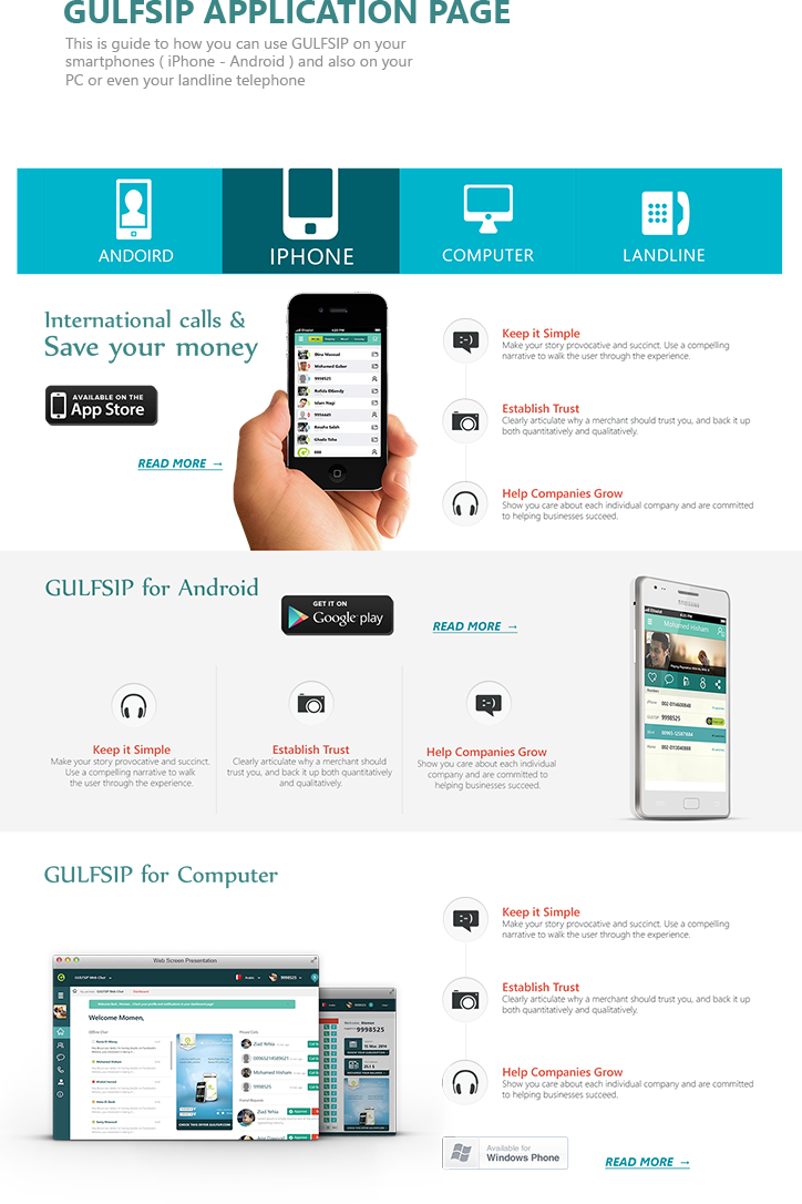 GULFSIP Redesign | Free Calls and SMS Website