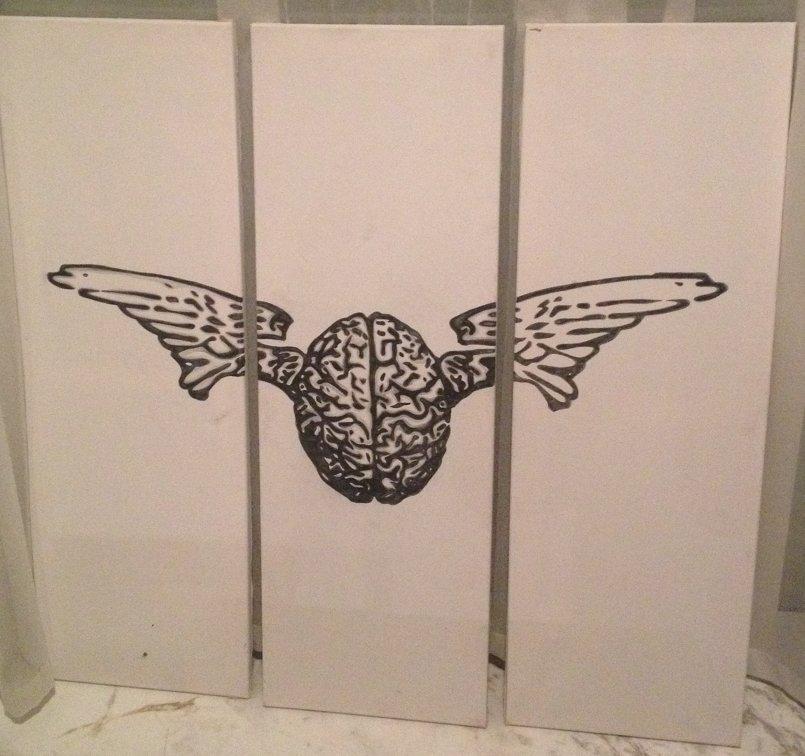 Brain flu logo - stencil and hand drawn