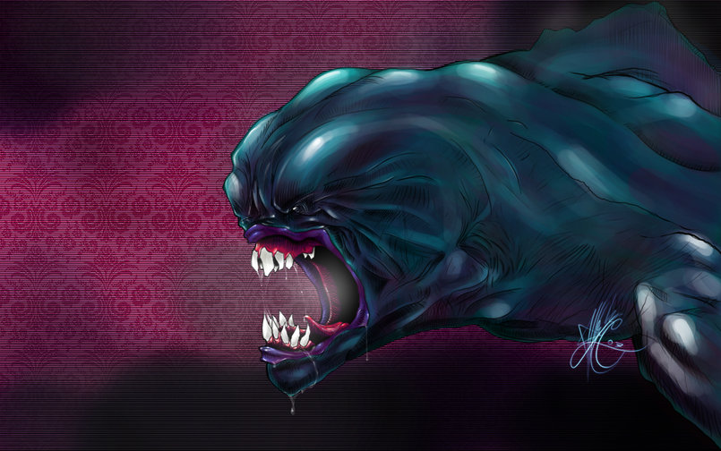 Blue Beast, first photoshop digital painting