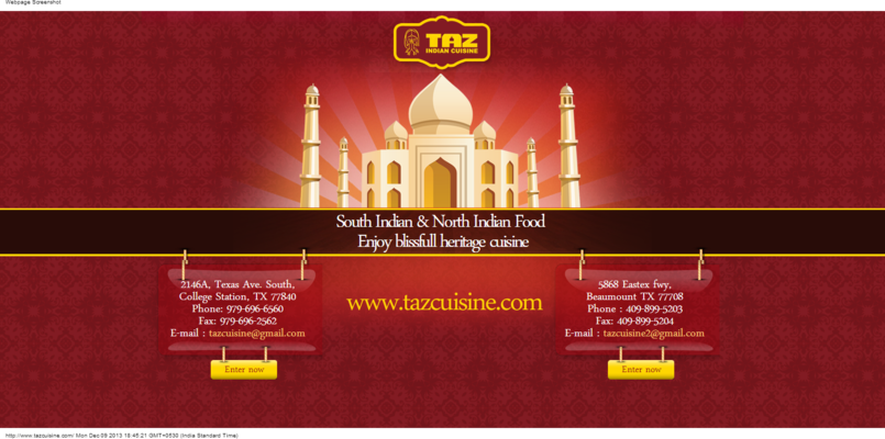 Responsive Website for Indian cuisine