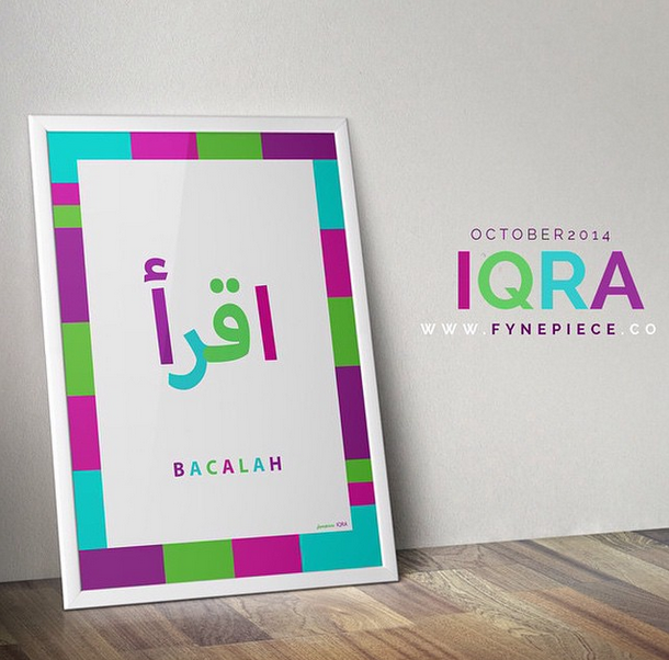 "The IQRA' was inspired from the Quran, Surat Al-`Alaq. The combination of colors used in this art was created to give an enjoyable and fun in reading.  IQRA' - means ""Read""."
