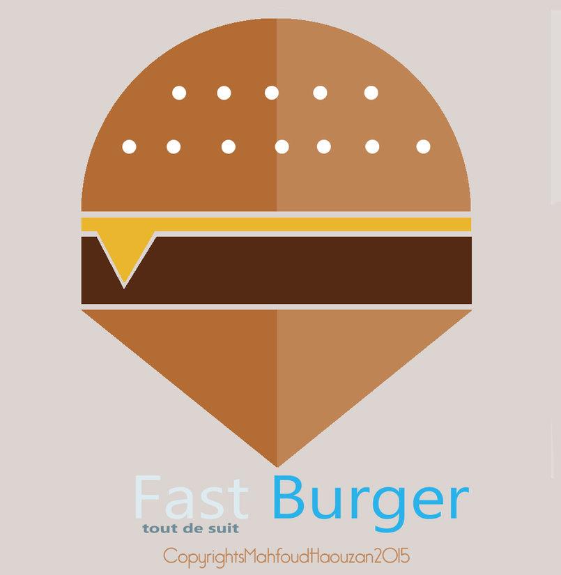 Logo for fast food  Fast Burger By mahfoud Haouzan . نموذج للوجو لمطعم للوجبات السريعة