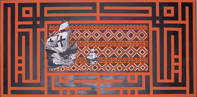 History or His Story -eL Seed - Spray Paint and Acrylic - 120 x 60 cm