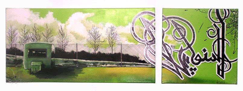 Manouche - eL Seed - Acrylic and Spray Paint - 60 x 40 + 40 x 40 cm