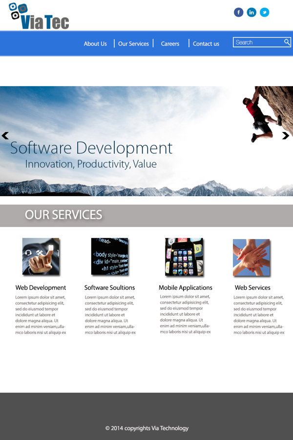Home page design for an IT company