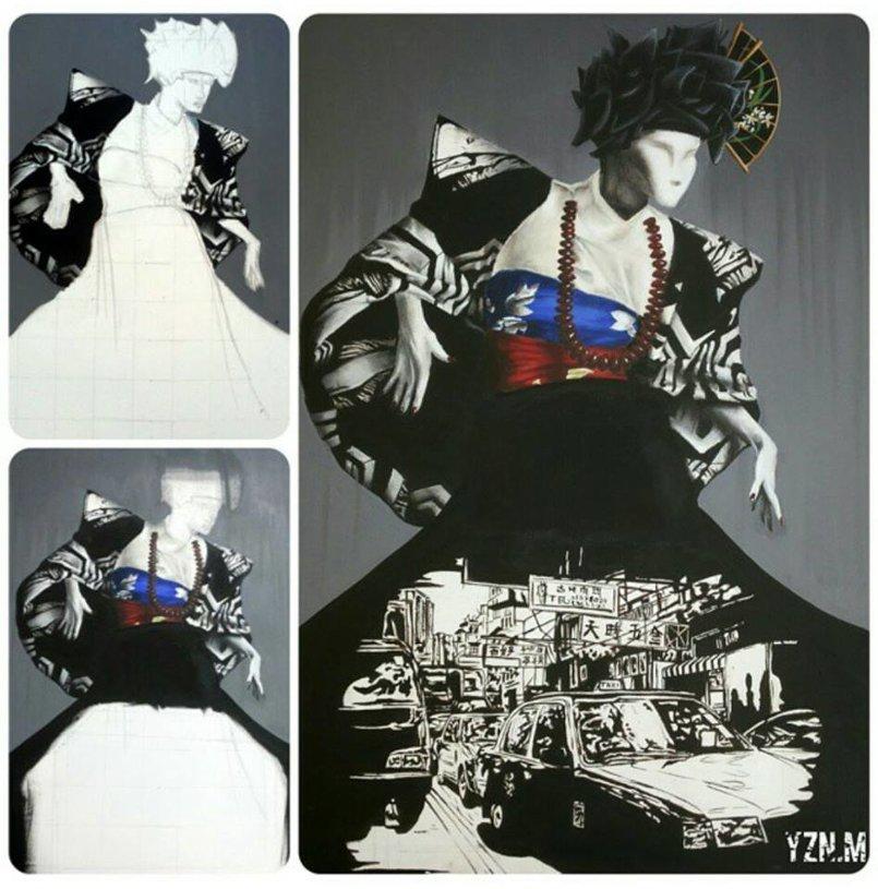 acrylic on canvas من المجموعة التى عرضت في معرض زارا عمان-الاردن في 2014