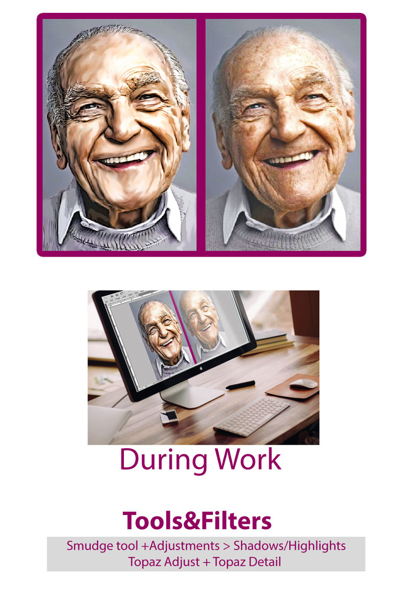 Retouch| old man photo with Portrait drawing effect