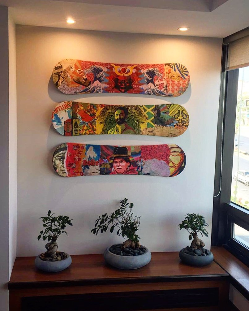 3 sandboards commissioned work art work