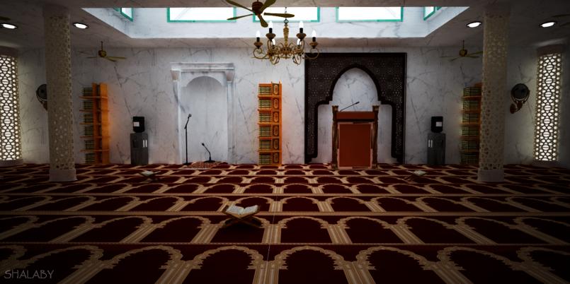 مشروع مسجد + c4d + vray
