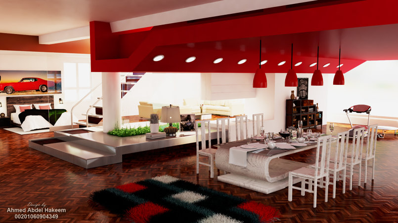 modern house - living area