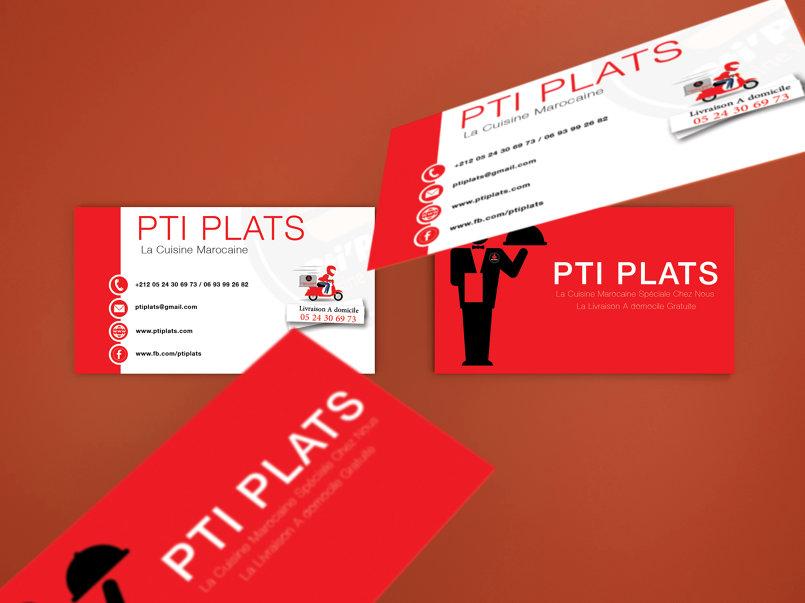 بطاقة عمل خاصة بمطعم PTI PLATs