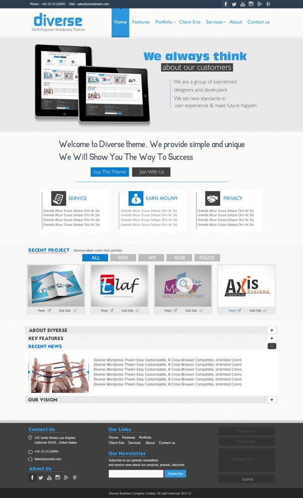 Diverse wordpress FlatDesign