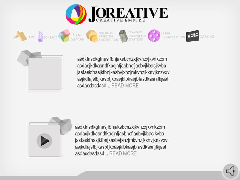Joreative website menu