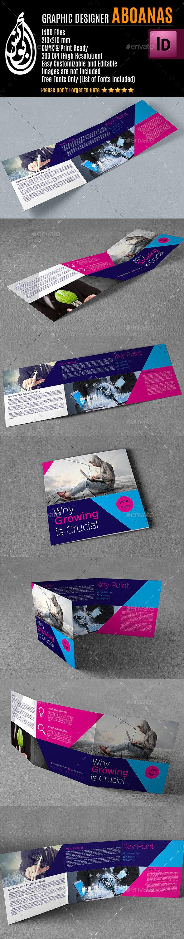 Tri-fold Square Brochure Template AA001