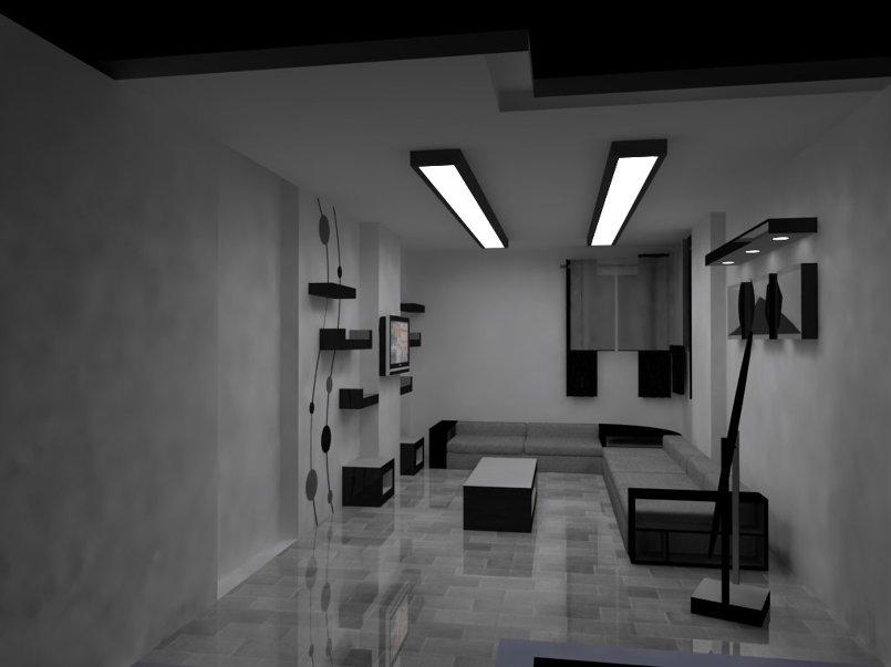 تصميم ثلاثي ابعاد لصالة منزل + الاشراف على التنفيذ