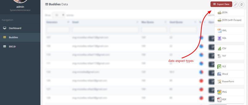 data export reports