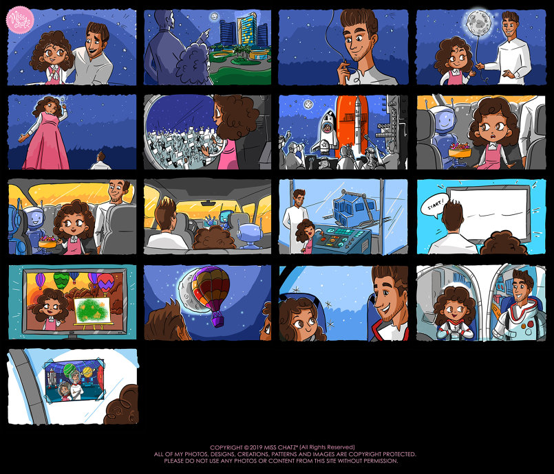 'Astronaut Dreams' Colored Storyboard Frames :)