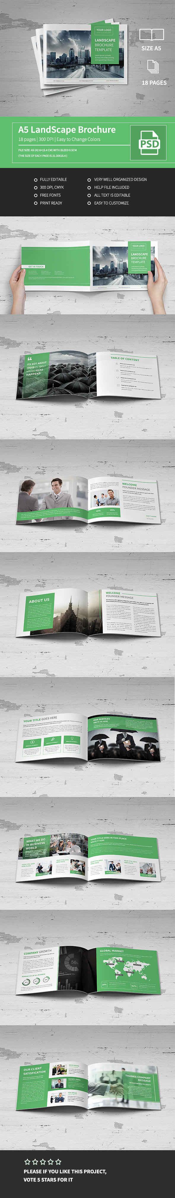 A5 Corporate Business Landscape Brochure