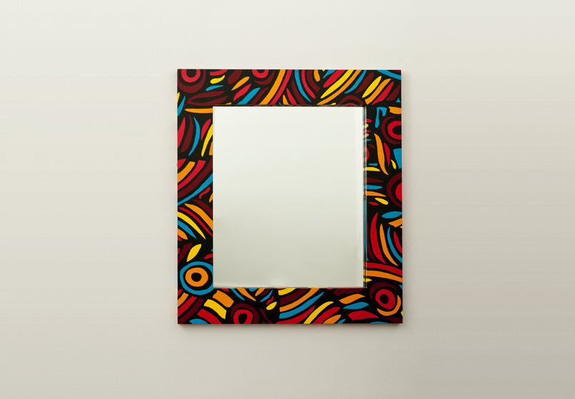 narcissus in the jungle is a striking hand painted jungle leaf inspired mirror with african influences.