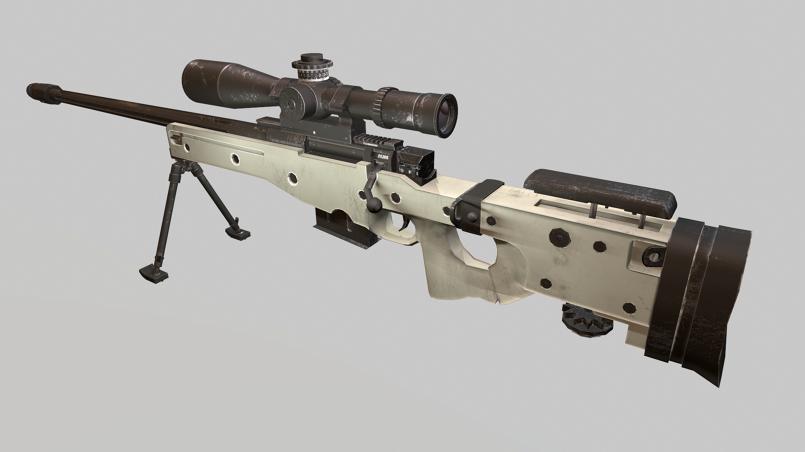 sniper AWM Low Poly