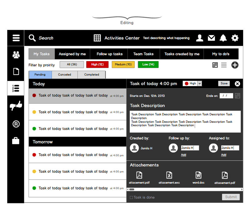 Tablets Wireframes for Correspondences App