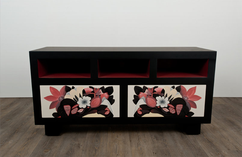 penelope is a hand painted tv unit with hints of oriental design in its form. adorned with ornamental painted designs. it comes with push-to-open drawers.
