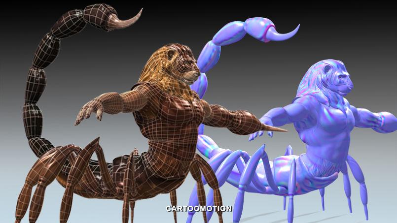 Horoscopes 3d characters Lion Scorpion united