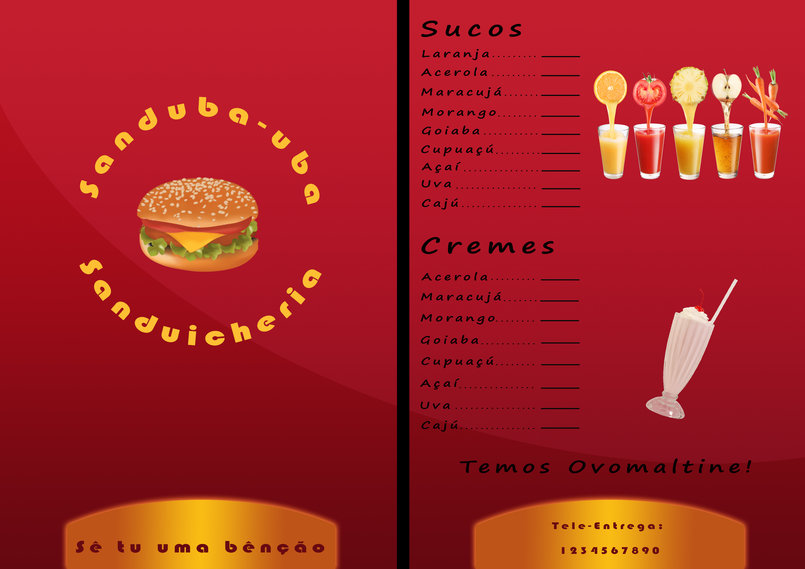 Restaurant Menu For a Client in Brazil