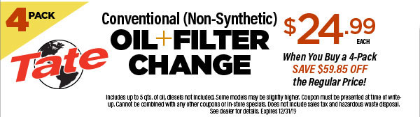 $15 OFF Semi/Full Synthetic OR $10 OFF Conventional Oil Change