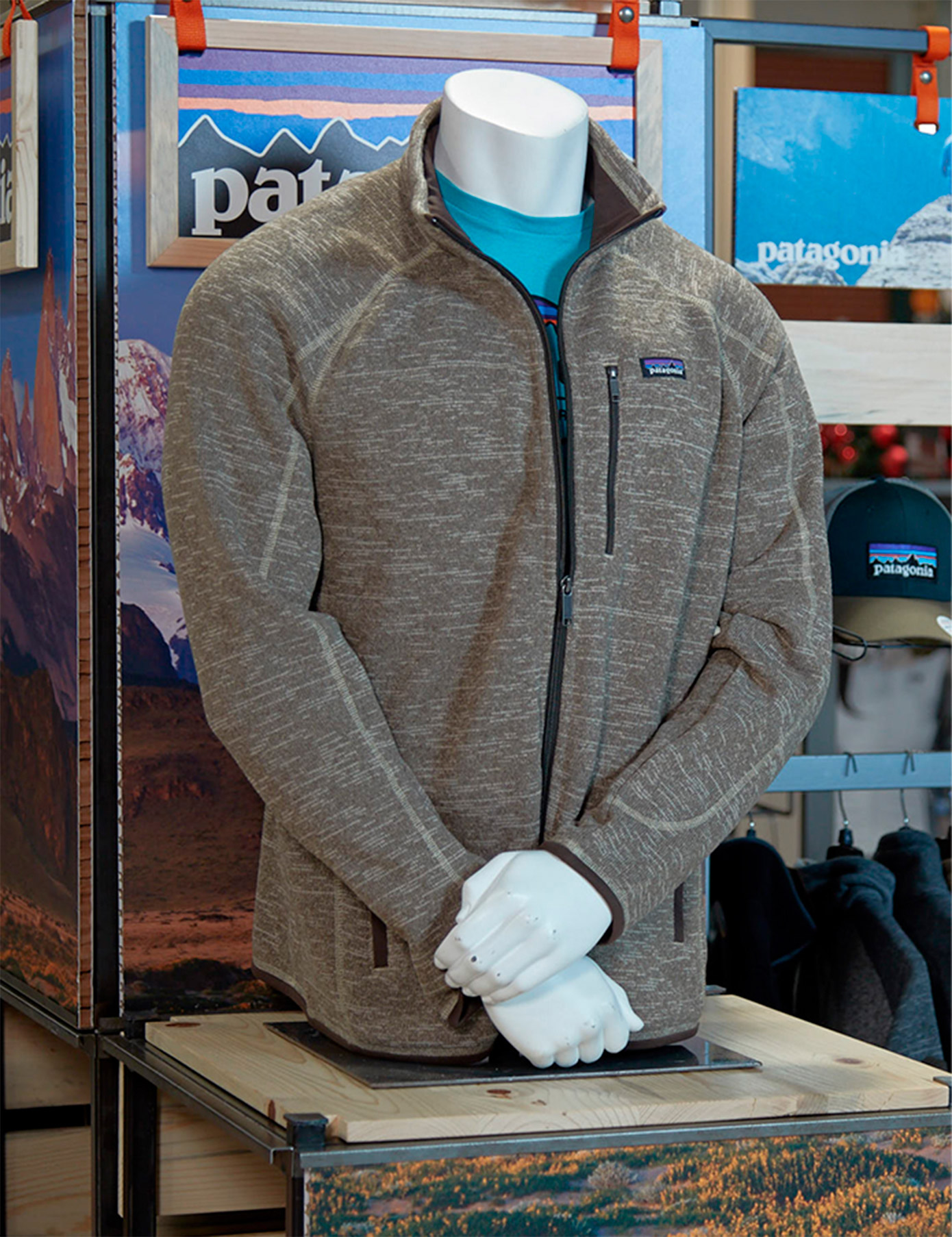 A closer view of one of the mannequins used in The Bernard Group's custom and inviting Patagonia display.