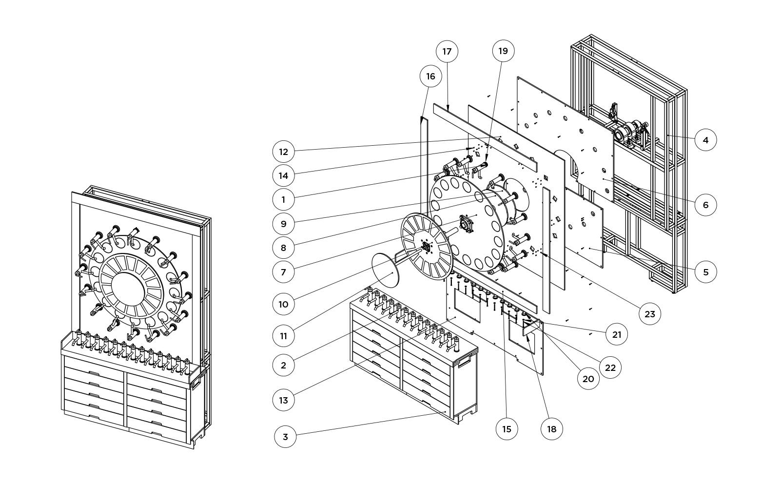 A diagram of the Kohler display that The Bernard Group engineered with an innovative mechanism that perfectly aligns each unique finish by easily clicking into place while also securely supporting the weight of the full system.
