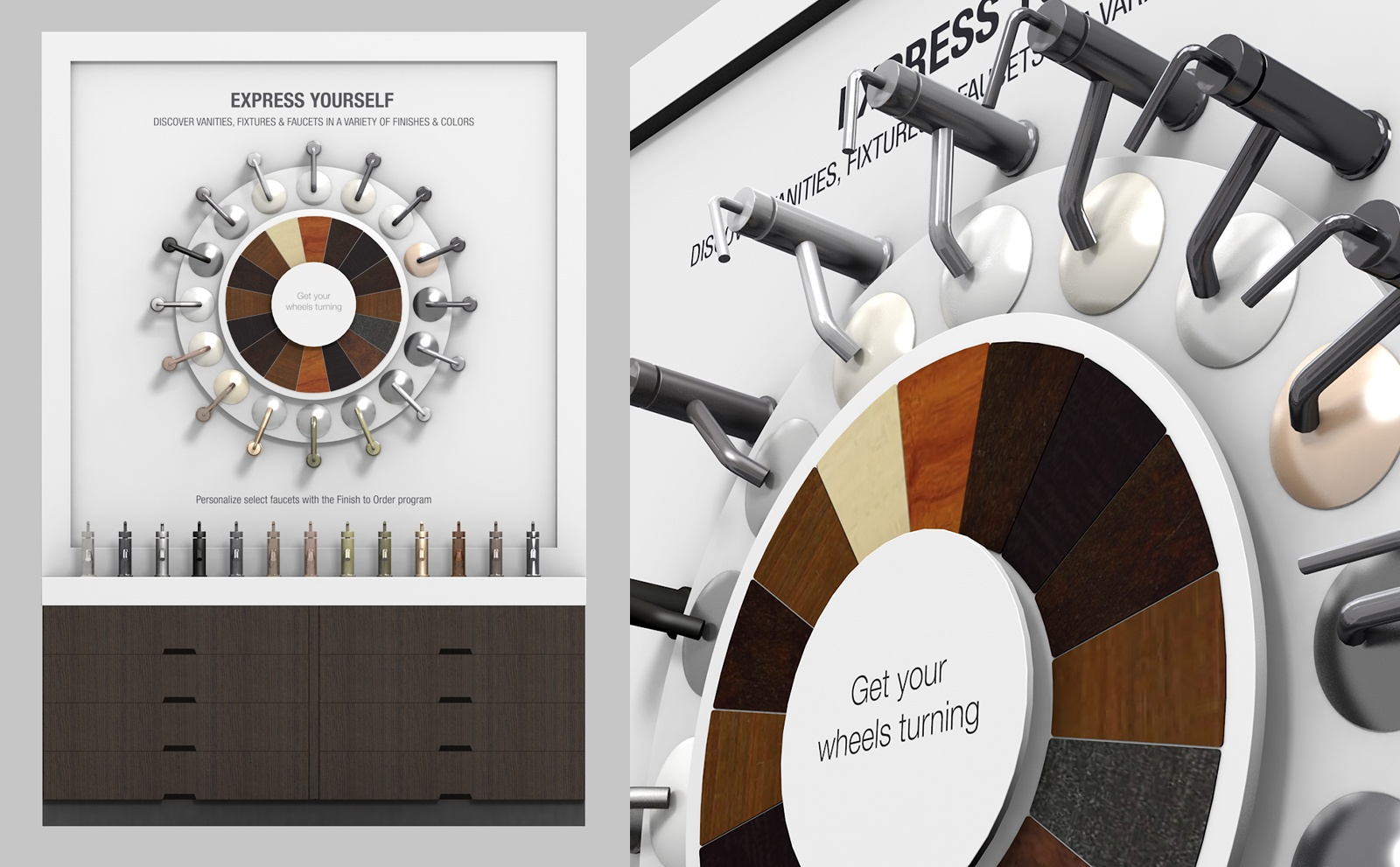 A split view showing both the full product and up-close view of Kohler's interactive finishes display, designed and built by The Bernard Group.
