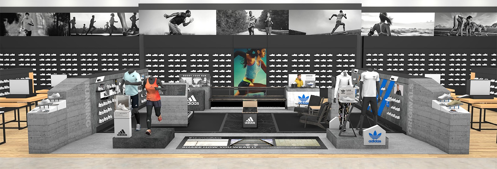 A rendered view of the entire area The Bernard Group designed for Adidas to live within a larger sporting goods retailer.