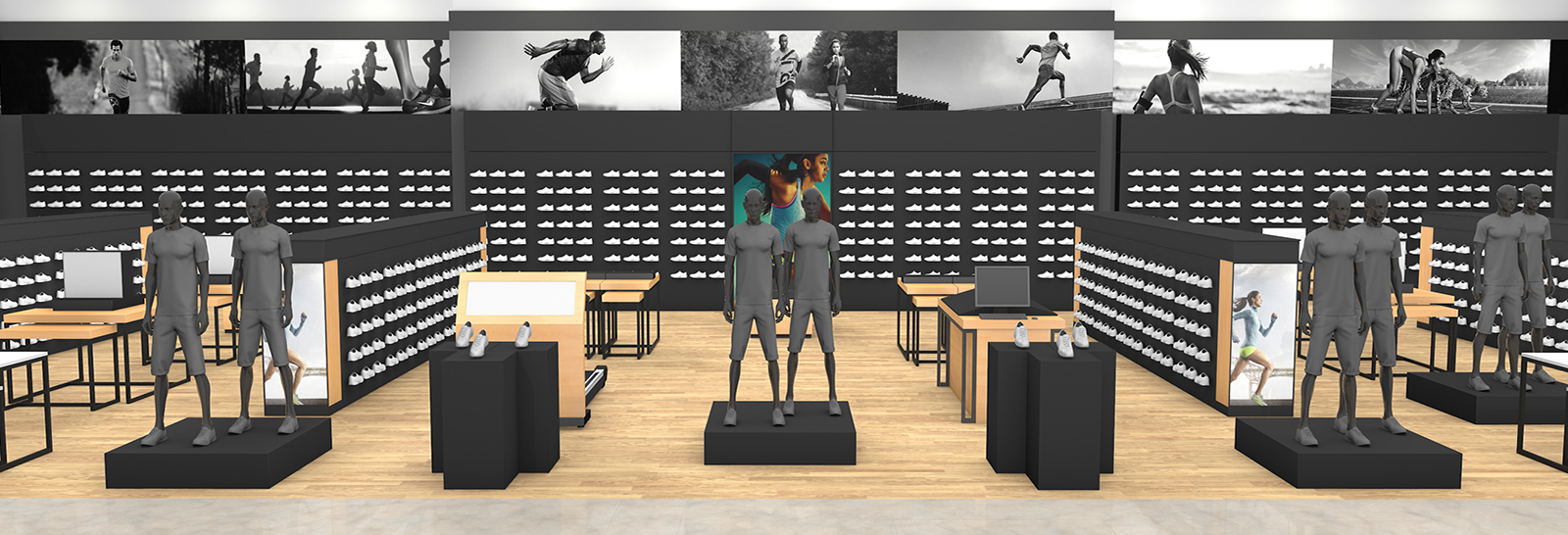 A rendered view of the entire area before The Bernard Groups designs for Adidas to live within a larger sporting goods retailer.