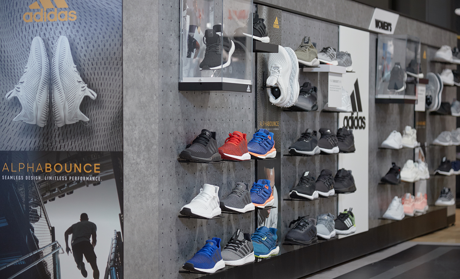 A closer look at the custom built shoe wall display designed and manufactured by The Bernard Group.