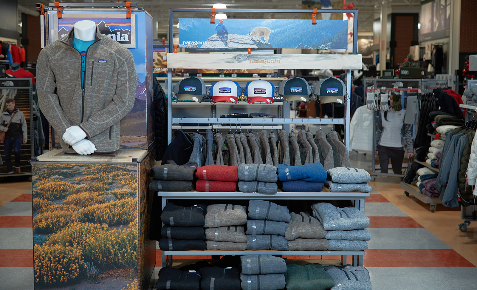 A final in-store view of the Patagonia display The Bernard Group designed to increase product count without increasing footprint.