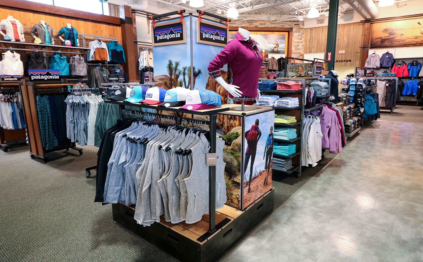 The final display designed for Patagonia by The Bernard Group, helping their products stand out in a department store environment.