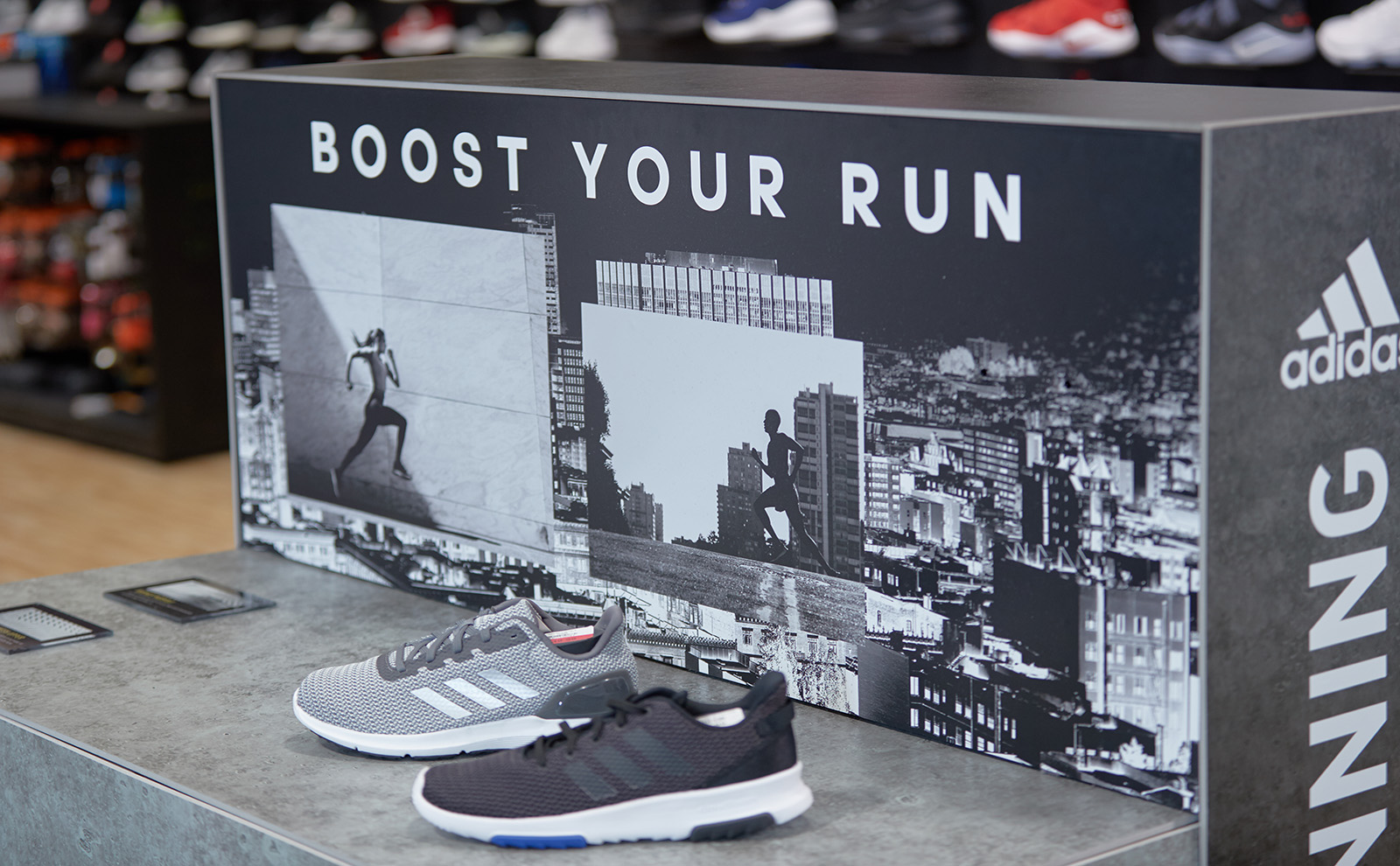 A closer look at an adidas custom shoe display