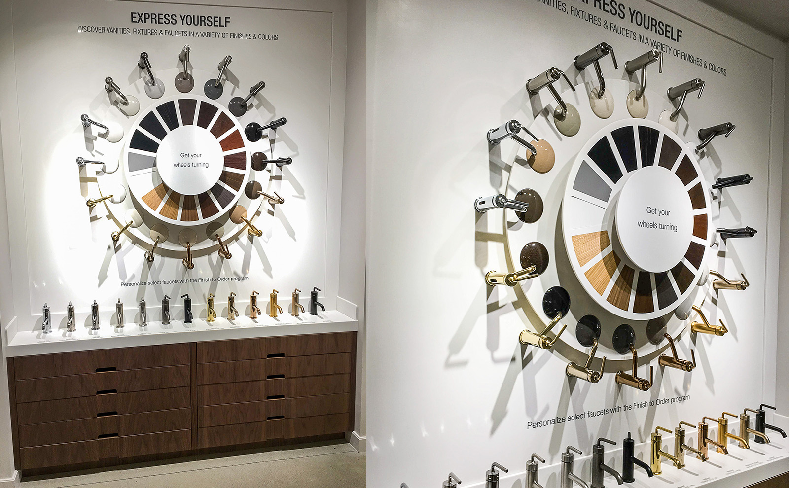 The final spinner wheel installed in the Kohler NYC showroom