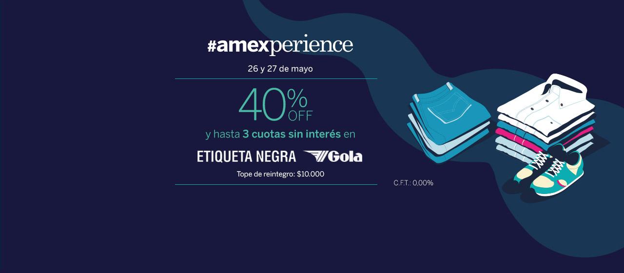 40% OFF y hasta 3 cuotas sin interés  en todos los locales de Etiqueta Negra y Gola
