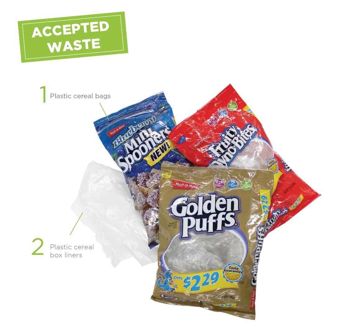 MOM Brands Cereal Bag Recycling Program Accepted Waste