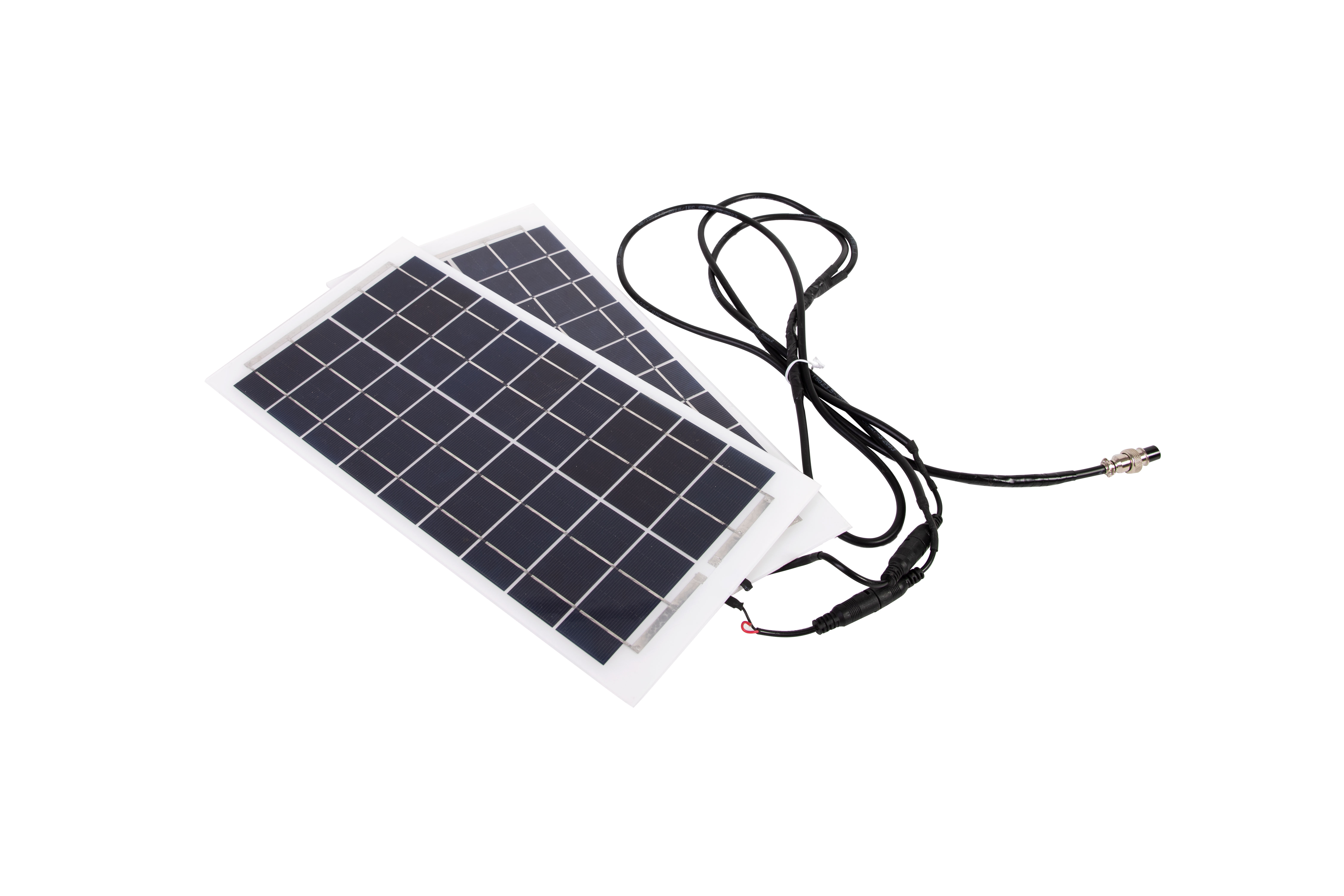 Two flexible solar panels with combined 30W output and Mounting adhesives