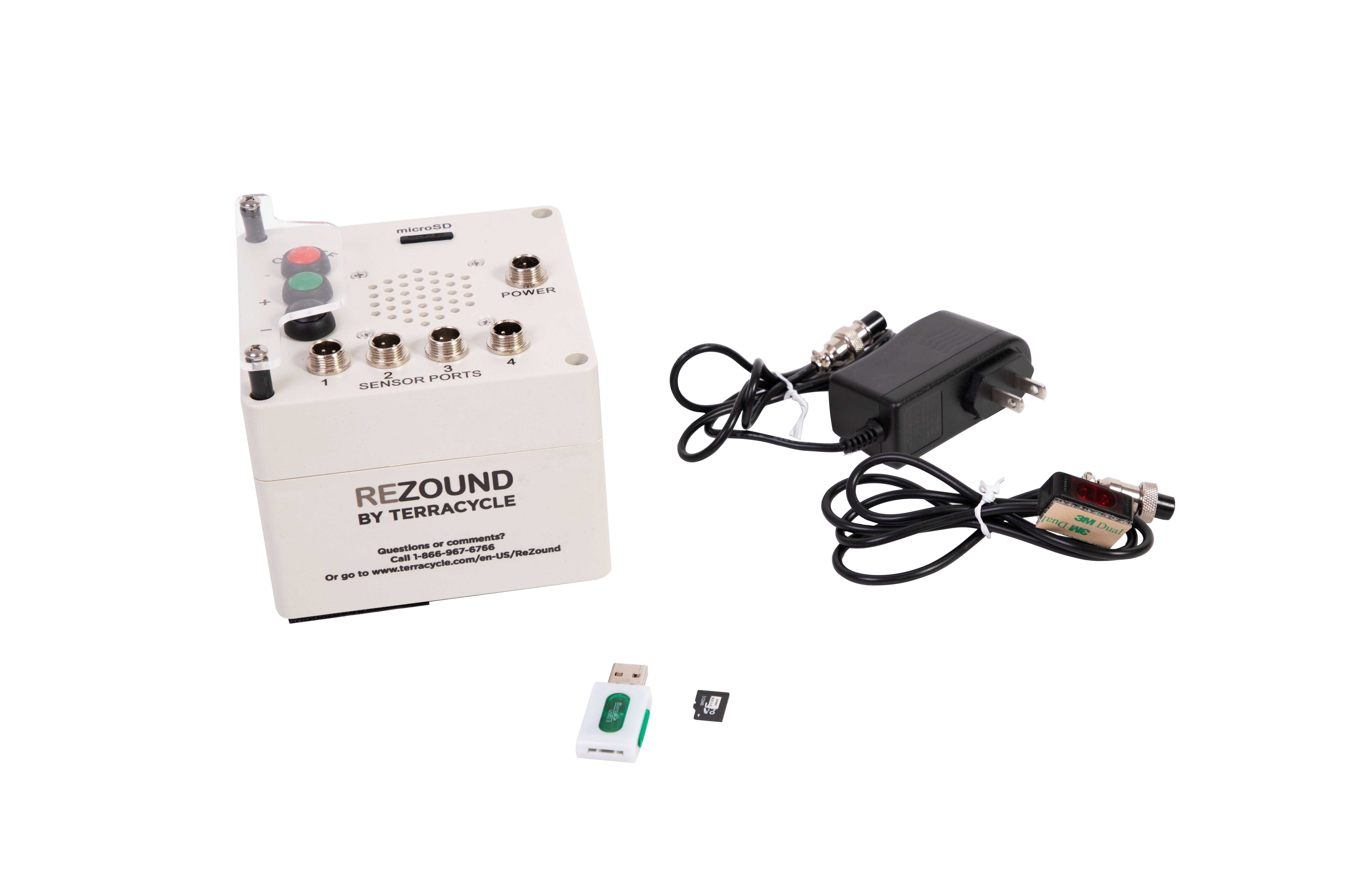 ReZound Machine equipped with: Pre-recorded sound packs, AC Charger, Two Sensors, MicroSD Card, and reader Mounting adhesives