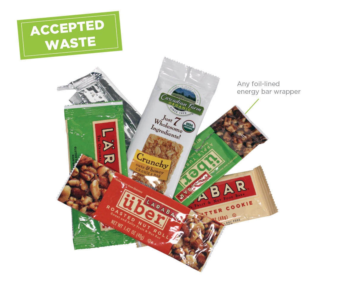 Energy Bar Wrapper Recycling Program Accepted Waste