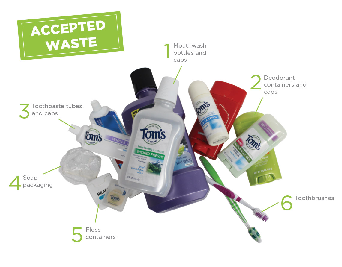 Tom's of Maine Natural Care Recycling Program accepted waste: