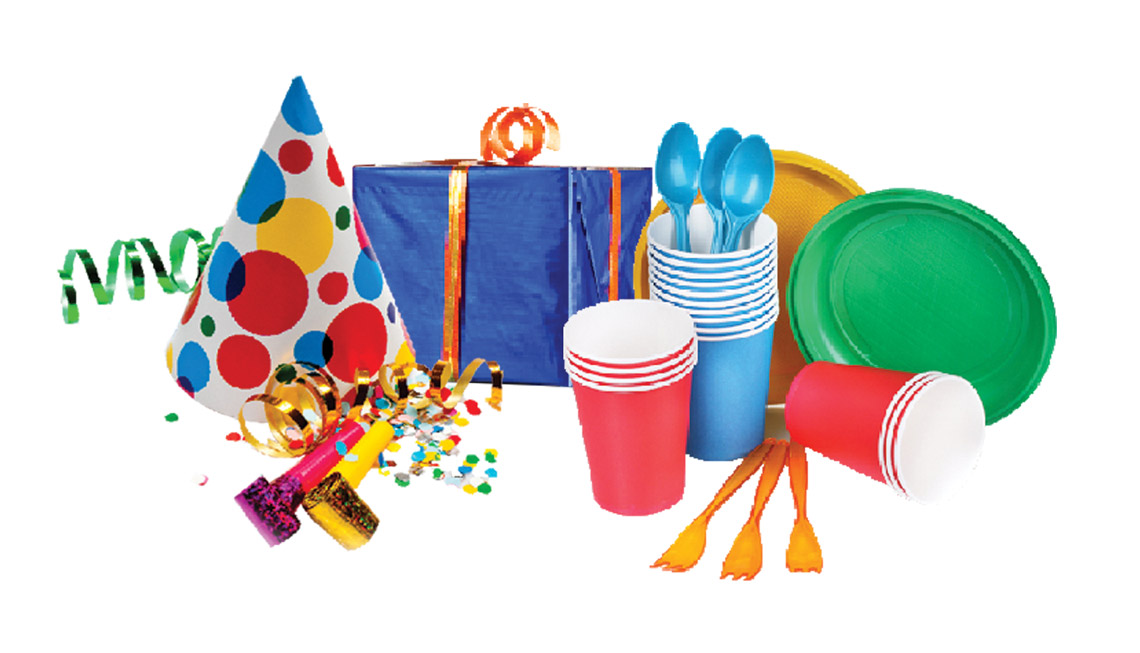 Utensils Straws Wrapping Paper Ribbons Bows Tissue Napkins Or Party Supplies Such As Garlands Noise Makers Favors Punch Bowls